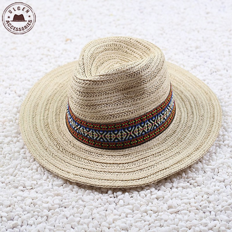 20572e099bd Vintage Summer straw hat mens fedora hat beige khaki cowboy hat large brim  straw panama hats for women with personality band