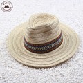 Vintage sombrero de paja de verano para hombre de fedora del sombrero de color caqui de color beige sombrero de vaquero grande ala de paja sombreros de panamá para mujeres con banda de la personalidad