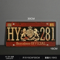 New 2017 Vintage Metal painting HY 281 car license plate wall painting art fashion crafts decoration 15x30 cm