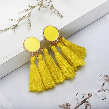 Bohemia Statement Tassel Gold Color Round Drop Earrings 5