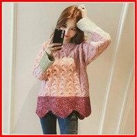 Autumn Winter Korean Version Women Sweater Lazy Irregular Bright Silk Splicing Flaxwood Loose Pullover Women S