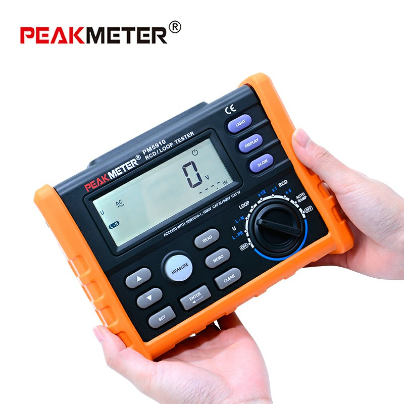 PEAKMETER PM5910 compteur de résistance numérique testeur de résistance à boucle RCD multimètre Test de courant/temps de sortie avec Interface USB