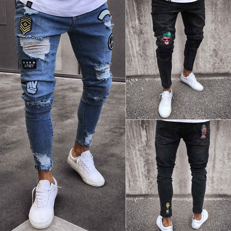 New Fashion Mens Skinny Jeans Rip Slim Fit Stretch Denim Distress Frayed Biker Scratchted Hollow Out Long Jeans Boy Zone Jeans Aliexpress