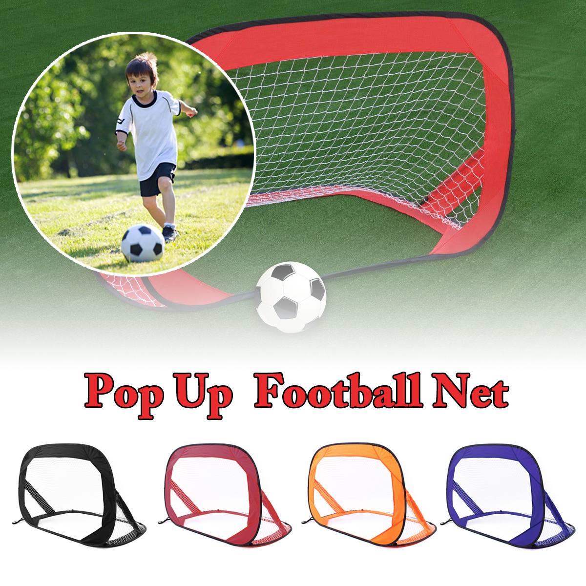 2 Pieces Folding Pop-up Soccer Goals Net Tent Outdoor Indoor Children Kids Play Sports Toy Portable Football Training Network 2 in 1 outdoor indoor kids sports soccer