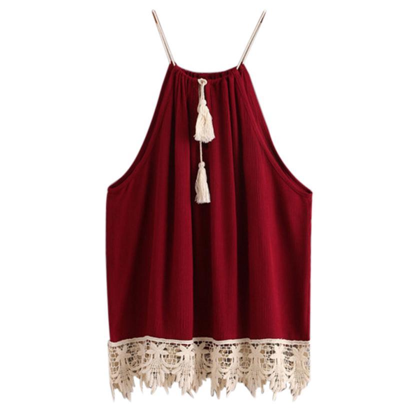 Для женщин Кружево отделанные кисточками без рукавов с открытой спиной майка Майки блузка рубашка 16 марта