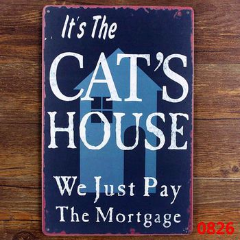 Funny cat tin sign for Cat litter decoration , cat house metal sign