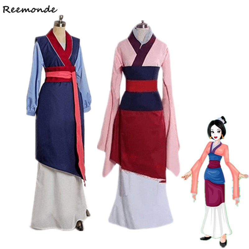 Movie Mulan Cosplay Costumes Red Blue Drama Princess Dresses Skirt Hua Mulan For Women Girls Halloween