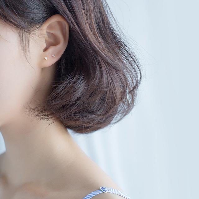INZATT Minimalist Real 925 Sterling Silver Geometric Triangle Stud Earrings Fine Jewelry For Unisex personality Accessories Gift