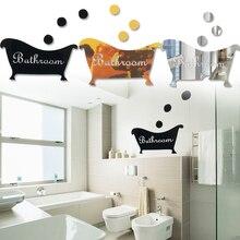 Pegatinas de placa de baño con espejo con estampado de letras originales, señal decorativa de acrílico ecológica para el hogar y el baño
