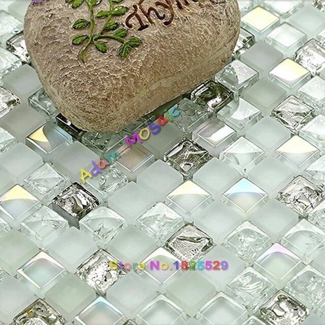 US $29.99 |Bianco trasparente Iridescenti Tessere di Mosaico di Vetro  Argento Backsplash Cucina Piastrelle Muro del Bagno Deco Fogli in Bianco ...