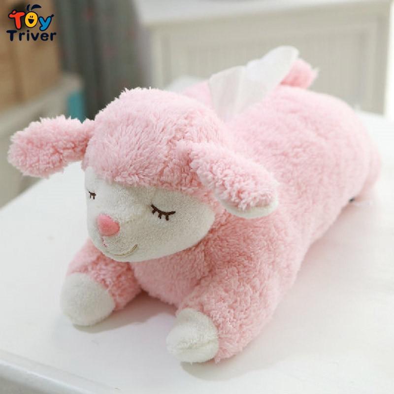 """40 ס""""מ Kawaii Plush כבשה טלה צעצוע ממולאים בובה בעלי חיים רקמות מקרה מקרה מפיות נייר מחזיק בית חנות חנות משרד קישוט רכב Triver"""