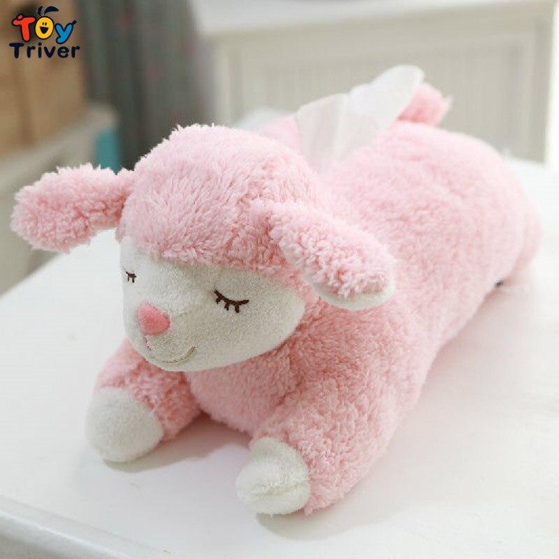 40cm Kawaii Plush Sheep Lamb Toy Stuffed Animal Doll Tissue Box Case ხელსახოცი ქაღალდის მფლობელი სახლის მაღაზია ოფისი მანქანის მორთვა Triver