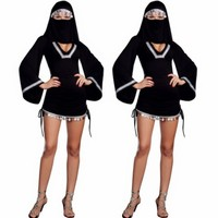Moda feminina Japonesa ninja costume play cosplay Árabe masked menina Trajes da Bruxa sexy Preto trajes Árabes