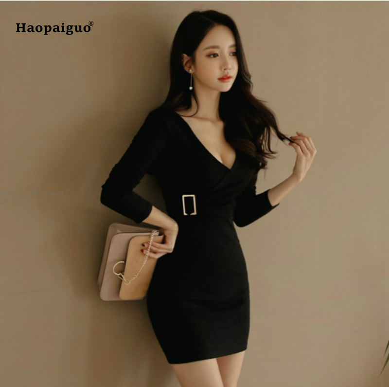 2018 Summer Sexy Dresses Club Party Wear for Women Long Sleeve V-Neck Knitted Office Dress Slim Bandage Bodycon Dress Vestidos women sexy slim summer dress knitted bandage ruffles strap mini knitting dresses women club dresses