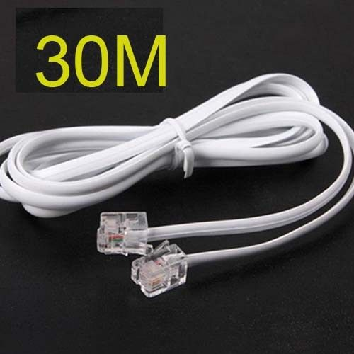 new High Speed 30m 90feet RJ11 Telephone Phone ADSL Modem Line Cord Cable