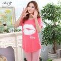Mulheres verão Pijamas de Algodão Set Curto Estilo Lábios Vermelhos Beijo Padrão Roupa de Noite Das Senhoras Sleepwear Pijama Femme Pijama Unicornio M ~ XL