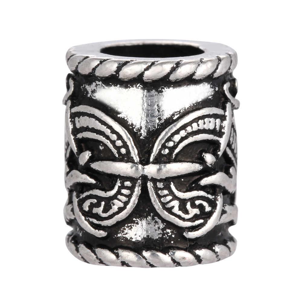 Антикварные серебряные бусины для руны викингов, ретро бусины с изображением дракона, подвески для волос бороды для браслета, ожерелья DIY