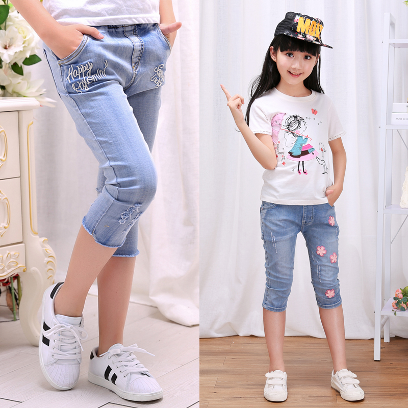 2018 summer children's clothes girls   shorts   casual slim thin baby girl jean   shorts   for kids big girls cropped denim   shorts