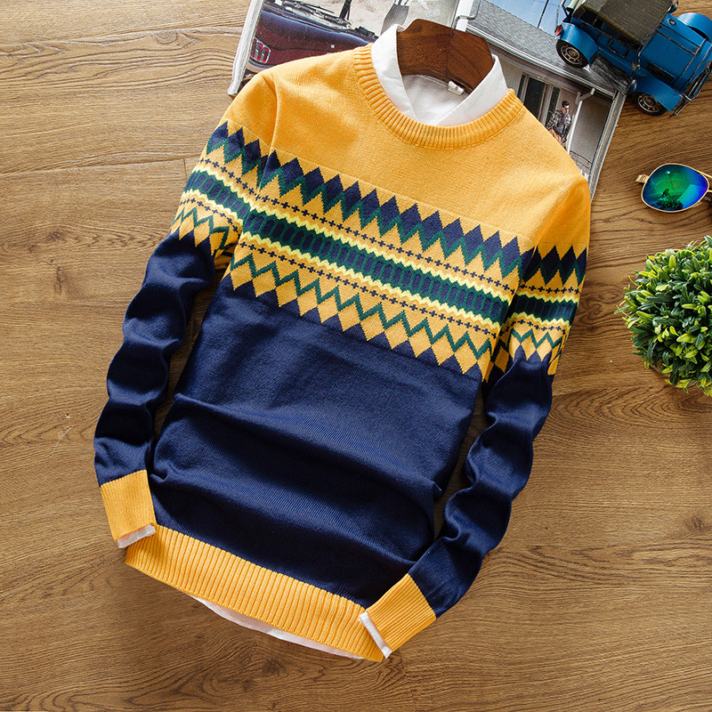 2019 Brand New Sweaters Men Fashion Style Autumn Winter Patchwork Knitted Quality Pullover Men Casual Men Sweater XXXL