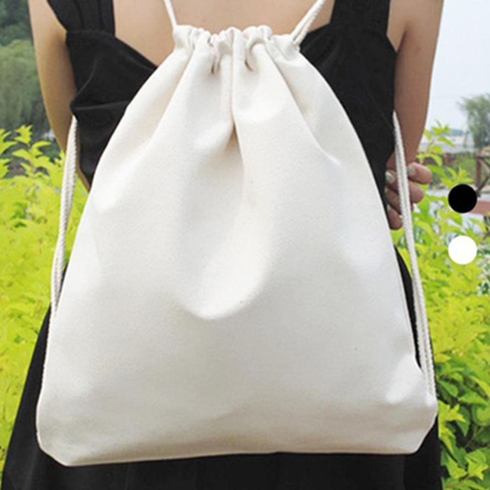 Women Canvas Backpacks Girls Drawstring Bag Teenagers Schoolbag Female Solid Color Sack Bag Black White Shopping Bags #15