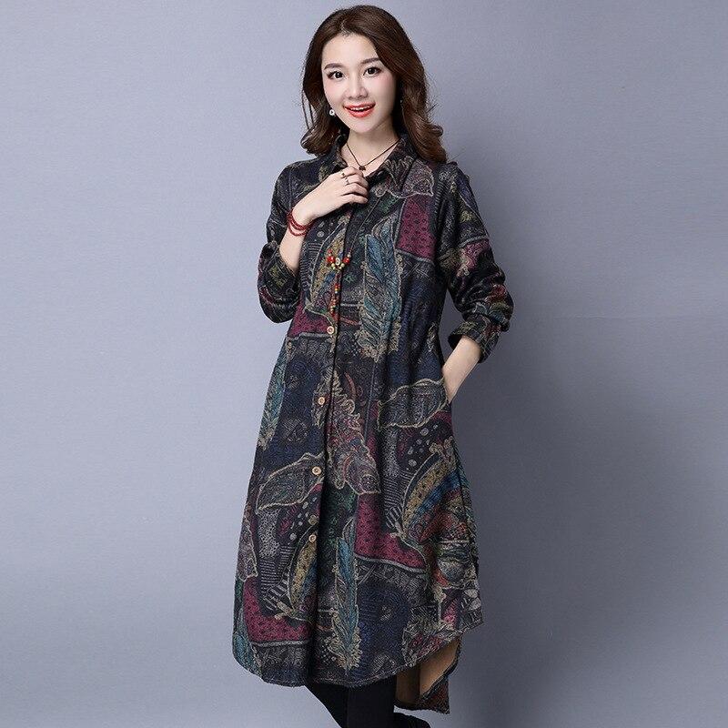 Autumn Retro Long Print Thickening Woolen Coat Elastic Waist Slim Turn Down Collar Femme Loose Wild Outwear   Trench   Coat MZ3160