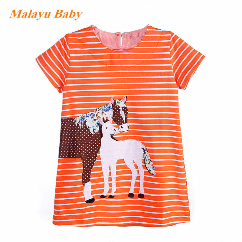 Malayu Baby brand 2017 Europe and the United States new spring summer cartoon striped dress, cartoon pony patch dress 1-7 years indoor children soft playground electric play toys for play center amusement indoor playground equipment ina1555