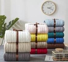 Nowy Nordic Cotton Twist Style Handmade miękki koc robiony na drutach łóżko pledy różowy biały niebieski szary dzianiny Sofa rzut koc 3 rozmiary