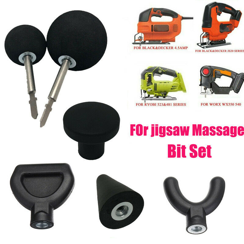 6Pcs Percussion Massage Tips with 2pcs Rod for Jigsaw Massager Adapter Attachment Worx Dropshipping
