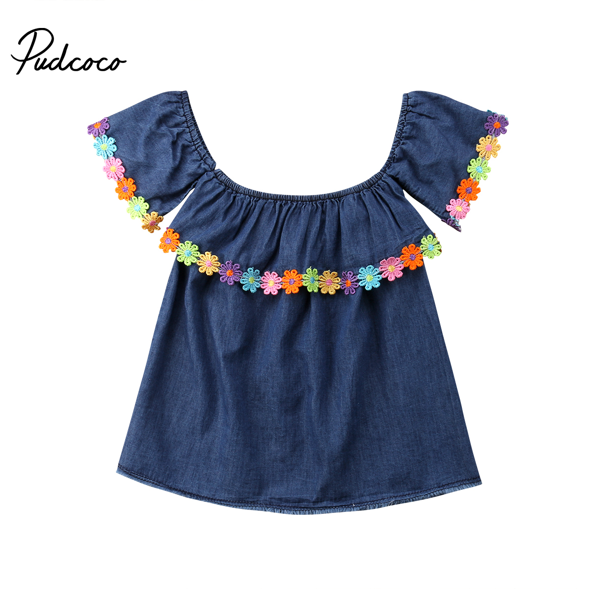 Pudcoco 2018 Faddish Brief Pure Baby Girl Dess Denim Blue Floral Rainbow Appliques Ruffle Sundress Chlid Clothing Outfits 1-6T ...