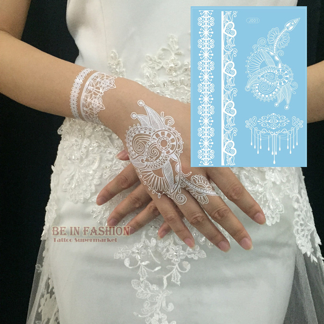 1 Kawałek Indian Arabski Biały Tatuaż Henną Wklej Koronki Wzory