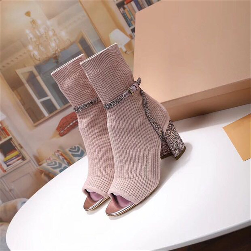 Glitter Knitting Sock Booties Women Sexy Open Toe Buckle Belt Hoof Heel Autumn Winter Ankle Boots-in Ankle Boots from Shoes    2