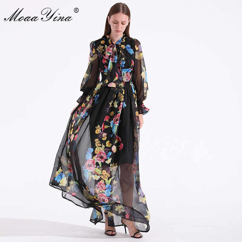 MoaaYina ファッションデザイナー滑走路夏の女性ドレスボウカラー長袖花柄ホリデーパーティー高貴でエレガントなマキシドレス