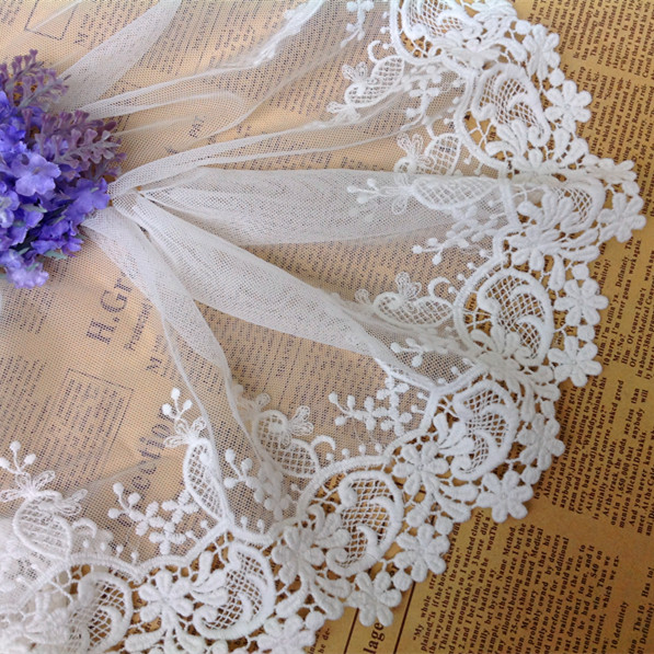 3 Yards / Lot White Exquisite Embroidery Soluble Lace, 15 Cm Wide Clothing Accessories Lace RS229