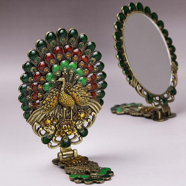 Dom Senhora Pavão Antigo Pintado de Cristal espelho de Maquilhagem espelho De Metal Retro Tribunal Clássica pega Dobrável espelho Princesa