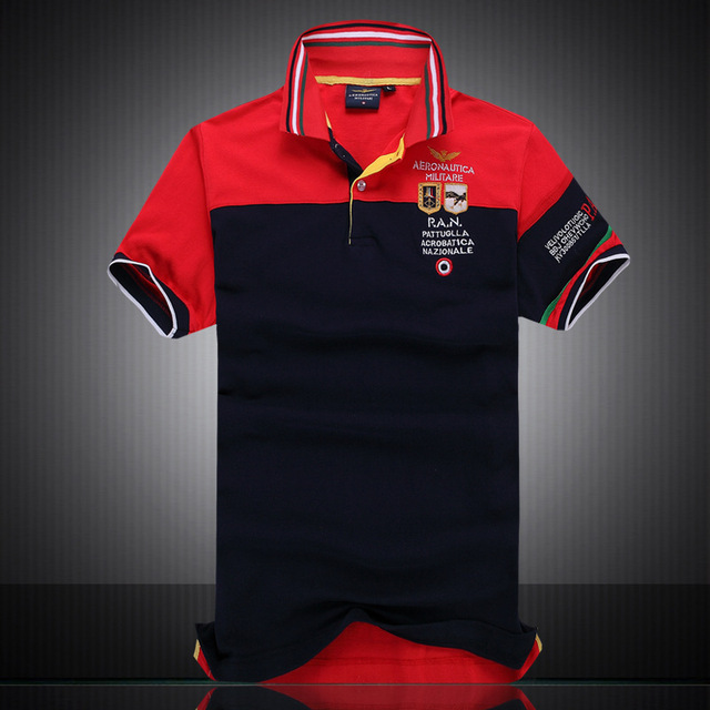 Hot ! 2016 New Fashion brand Short Sleeve Men Polo Air Force One British fashion style men's polo shirt embroidered lapel