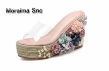 Moraima Snc barnd platform sandals ladies flower high heels slippers women Transparent chausson femme Beach shoes 2018 summer