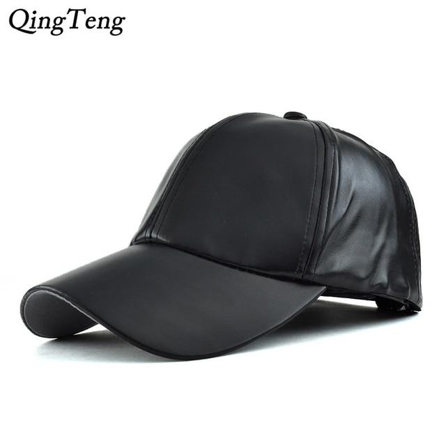Negro sólido cuero PU gorra de béisbol sombrero para hombres mujeres  Snapback sombreros invierno 2018 primavera f88b69ee4bd