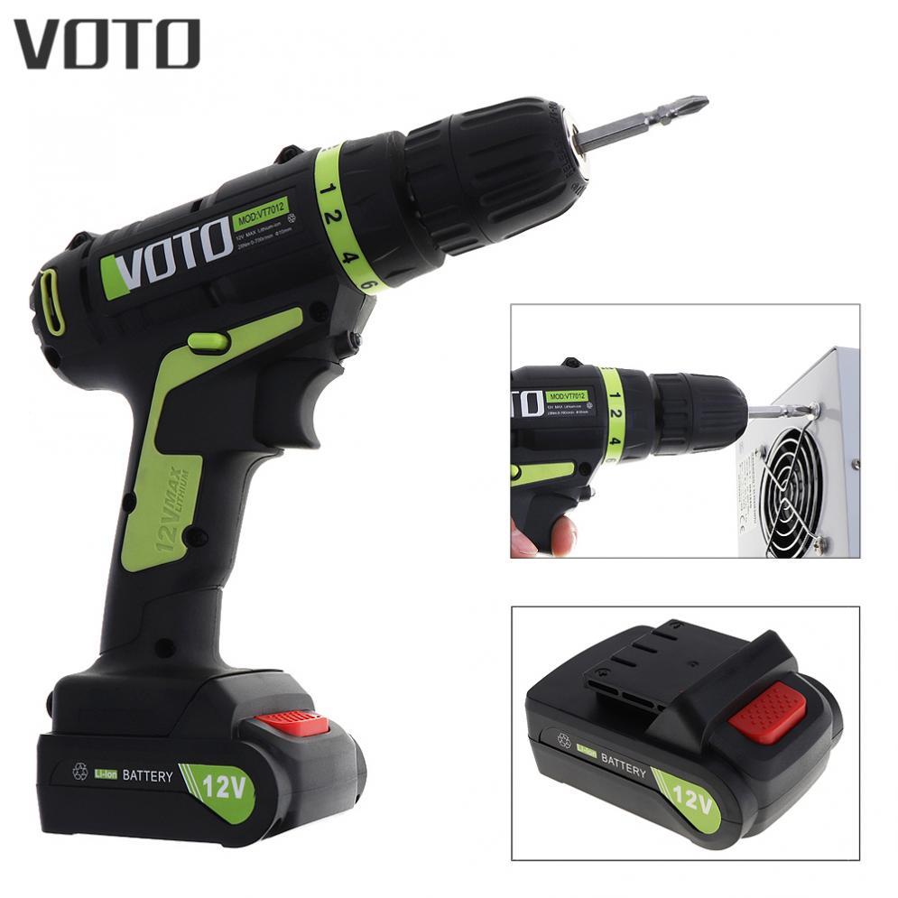VOTO AC 100-240 V batterie au Lithium sans fil 12 V tournevis électrique avec interrupteur de réglage de Rotation pour la manipulation des vis/poinçon