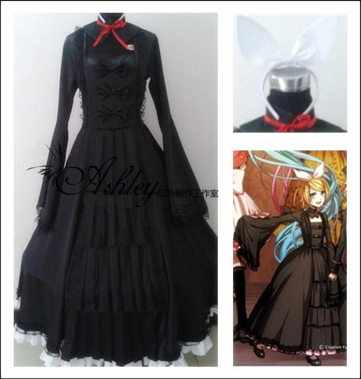 Vocaloid Kagamine Bad End Night Rin Cosplay Costume Lolita Dress  Custom Made Free Shipping