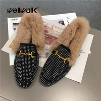 WELLWALK Women winter shoes korea styles fur loafers women shoes with real fur shoes ladies ballet flats female winter moccasins