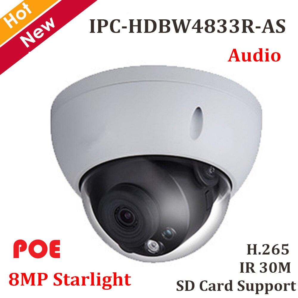 DH 8MP Starlight Dome Poe câmera IP H.265 IP67 IPC-HDBW4833R-AS Segurança Câmera de Rede de Apoio Max 128g cartão Sd