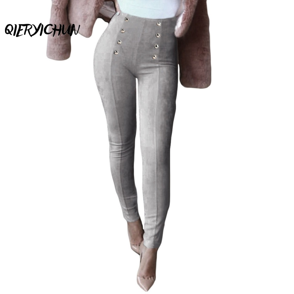 1bc35e389be Dropwow Women High Waist Faux Suede Pants Winter Elastic Stretch Slim  Legging Trousers Solid Button Skinny Pencil Pants Plus Size