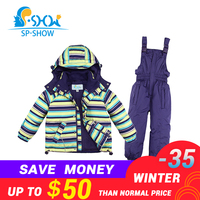 BUY 1 SUIT GET 1 FREE SCARF 30 degrees SP SHOW Winter 90% White down coats Kids clothing boys and girls ski jacket suit 009011