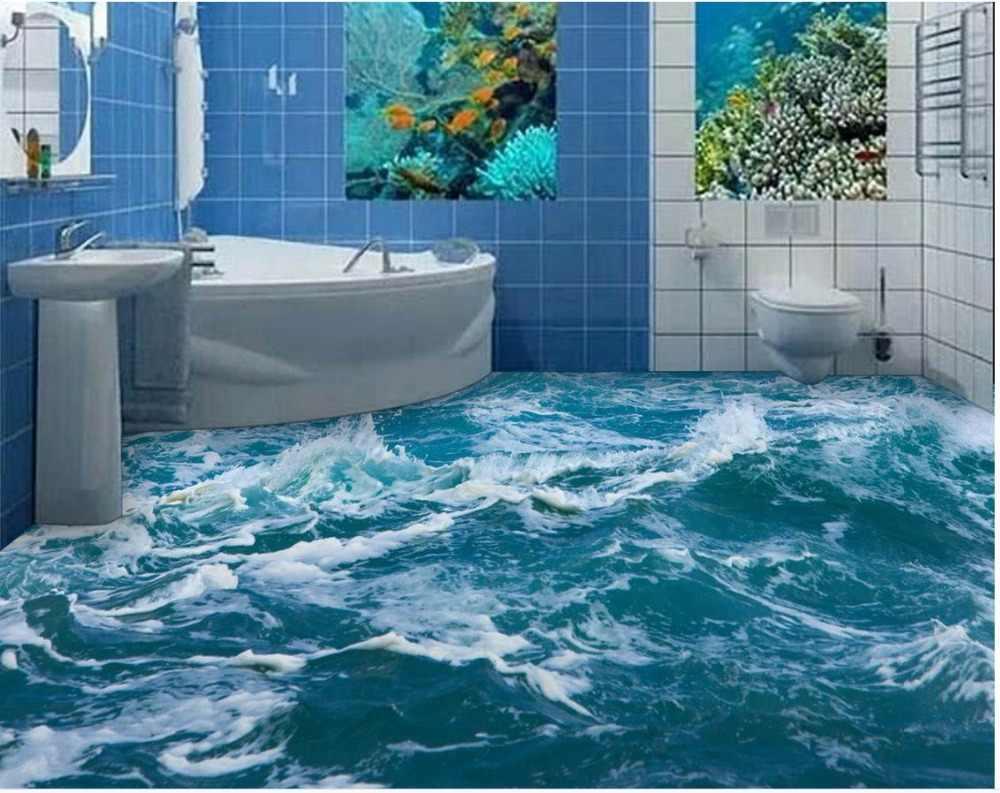 防水床mural絵画海ビーチ床ステッカー防水床mural絵画カスタムフォト自己粘着3d床