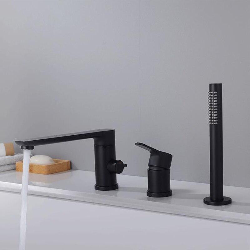 Черная ванна кран Черный Ванная комната 3 шт. комплект кран душа для ванной комнаты крепление Нажмите смеситель для душа клапан 2 функция
