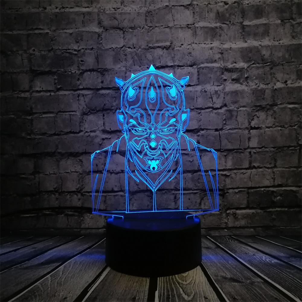 NUEVO Star Wars Darth Maul Vassal Jedi Knight Figura Lámpara Multicolor 3D Visual Touch USB Led Dormitorio Luz de noche Humor lampara Regalo