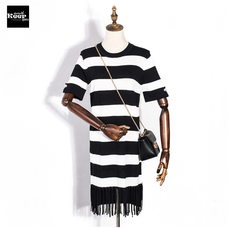 2018 New Basic Knitted Dress Women Striped Tassel Street Bead Autumn Winter Runway Dresses Mini Sweater Dress vestidos de fiesta