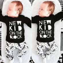 Newborn Baby Boys Girls Kids Casual Long Full Sleeve Letter Printed T-shirt Tops+Long Feather pattern Pants Outfit Clothes 2019