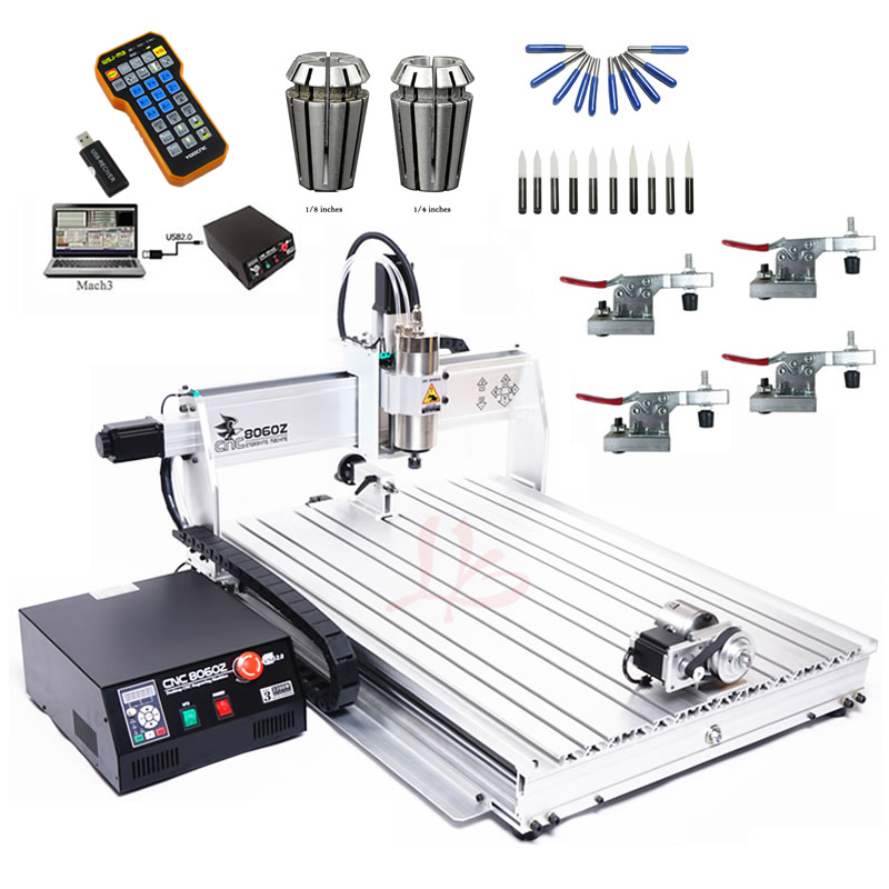CNC روتر 8060Z 2200W VFD آب دوخته شده اسپیندل دستگاه CNC USB Port 4 محور CNC دستگاه برش با هندزفری رایگان
