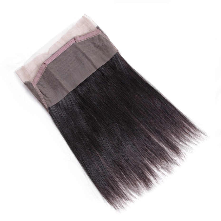 Gabrielle бразильские прямые пучки волос с 360 фронтальной натуральный цвет не Реми человеческие волосы переплетения пучки с фронтальной застежкой